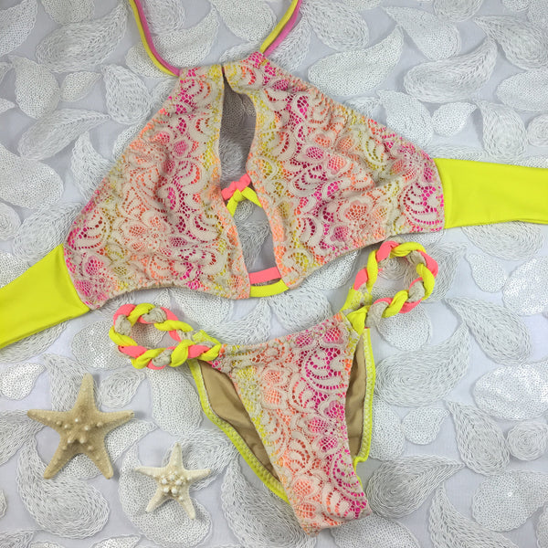 2017 Neon Yellow/Pink Sporty Halter Lace Bikini A-DD Cup Sizes/Micro Cheeky