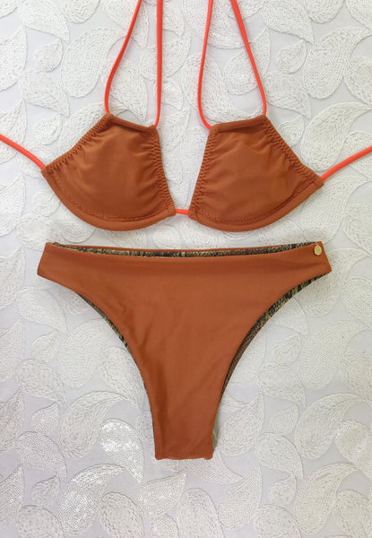 2018 Copper Snake 2:1 Flip It Reversible Highwaisted Bikini Brazilian(NO Cheeky/Scrunch)