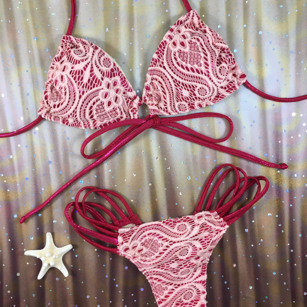 2017 Burgundy/Peach Lace Multistring Bikini Micro Cheeky