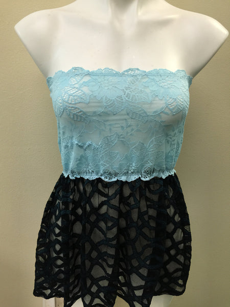 Baby Blue/ Teal Lace Cover Up