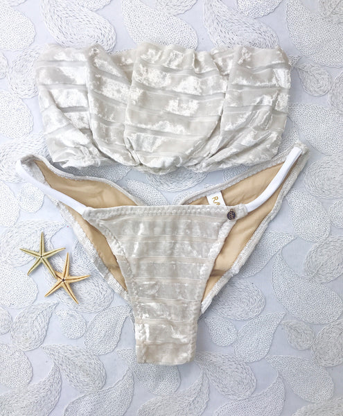 2018 Off white Velvet Stripe(White Strings) Seamless Strapless Bikini Midcoverage Cheeky (Bride/honeymoon/wedding)