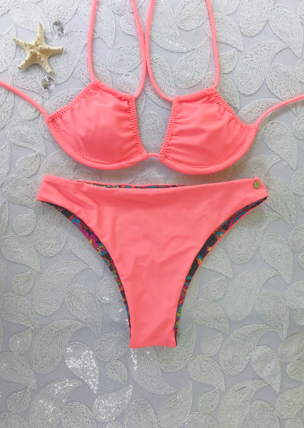 2018 Coral Paisley 2:1 Flip It Reversible Highwaisted Bikini Brazilian(NO Cheeky/Scrunch)