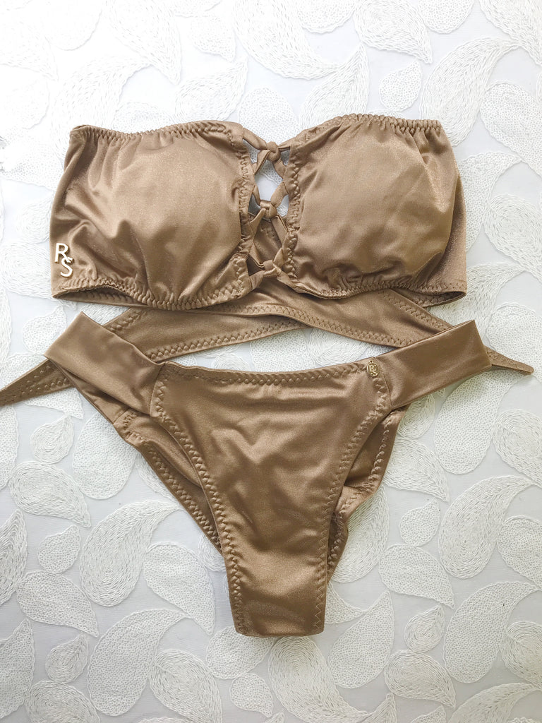 Custom Criss Cross Flip Its top with band bottom (nude/tan/bronze)