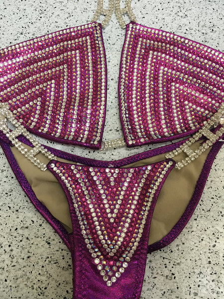 Quick View Competition Bikinis Fuchsia Chevron Rainbow Deluxe