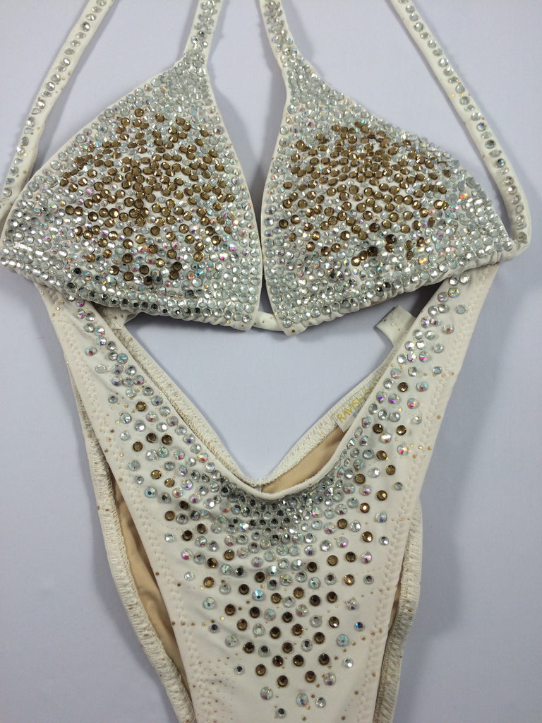 White Topaz Stardust Deluxe, a/b cup top, small thru medium bottoms