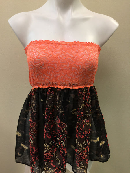Quick ship orange lace black/brown babydoll Cover Up FLASH SALE