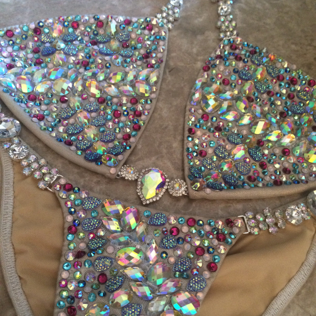 Custom Triangle Style Deluxe Peacock Bling Themewear with wings $999  or bikini only $699 (THIS FABRIC IS SOLD OUT. WE USE SUBSTITUTE)