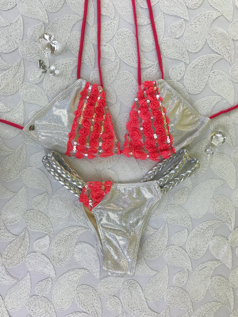 2017 White Sparkle/Coral Flower Amber Double Braid Bikini Micro cheeky