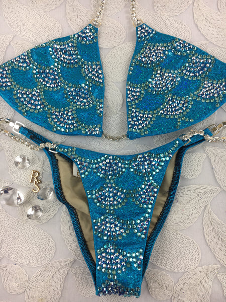 Quick View Competition Bikinis Aqua/Turquoise Mermaid Rainbow Style swarovksi