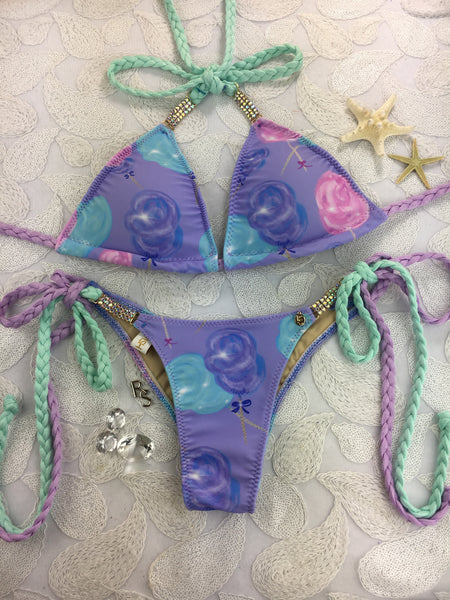 Custom Cotton Candy Bae, tie string w/Embellishment  Limited time $89.99***(SUIT SOLD PER PIECE OR SET, price varies)