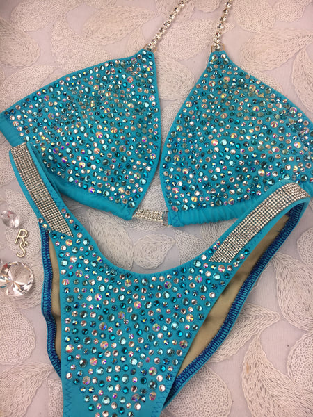Quick View Competition Bikinis Pink Confetti Bliss with Euro cut bottoms/Mesh rhinestone sides