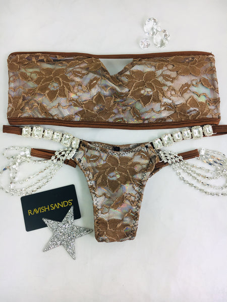 Custom Peekaboo Strapless Brown Lace over Opal Multi String Embellished Pool Party Bikini Custom Made to order***(SUIT SOLD PER PIECE OR SET, price varies)