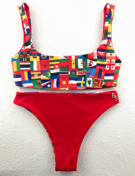 2018 Flag Plunge neck 4:1 Flip It Reversible Highwaisted Bikini Brazilian(NO Cheeky)