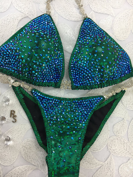 Quick View Competition bikinis Diamond Princess Starburst Elite Green/Blue color crystals