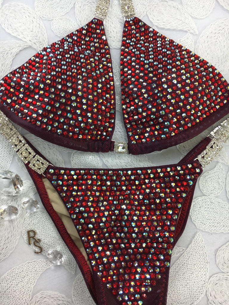 Quick View Competition Bikinis Cranberry/Red/ Bombshell Bling Luxe Swarovski