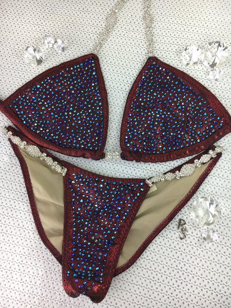 Cranberry Black Metallic (Jet AB) PRO CUT Cheeky Bikini Quick Ship Platinum Bling Exclusive