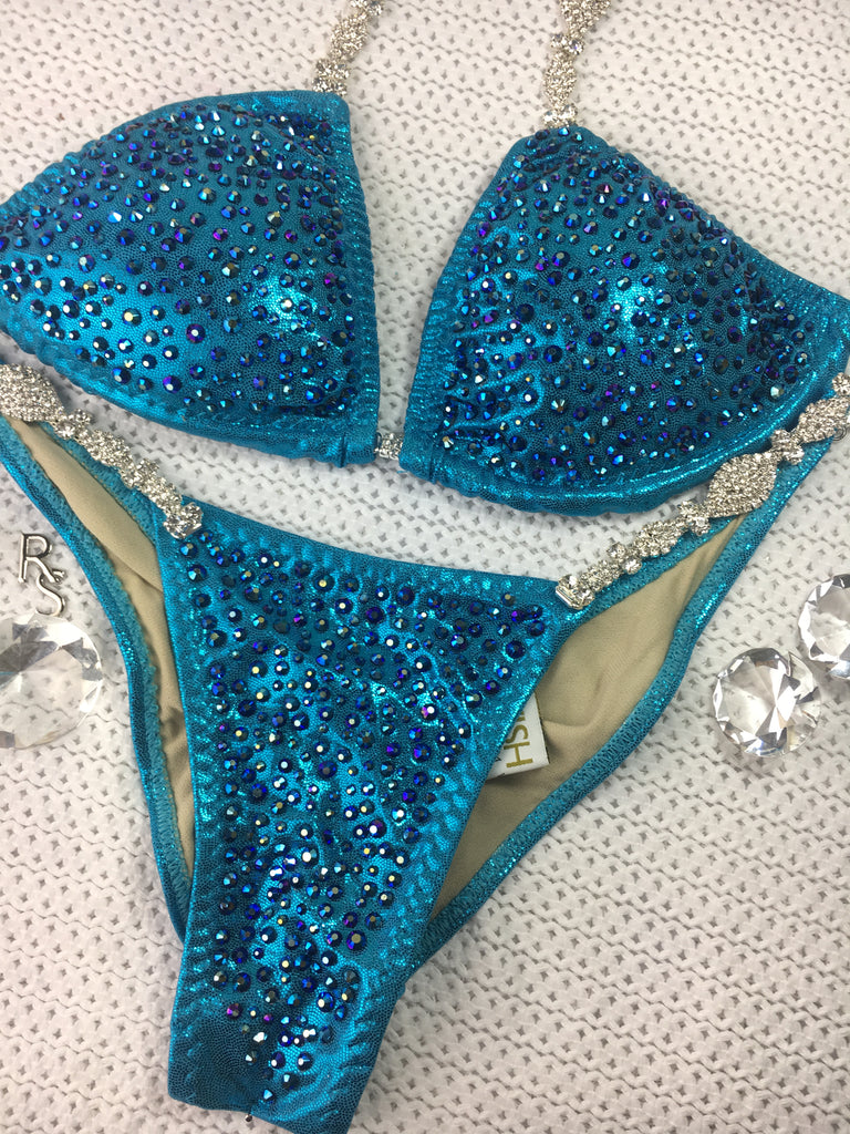 Ice Turquoise Platinum Bling Exclusive Jet AB Micro Cheeky Quick Ship