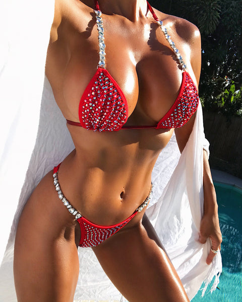 Custom Bombshell Bling Luxe w/color upgrade (1solid stock crystal/1color ab special order alternating)Competition Bikini