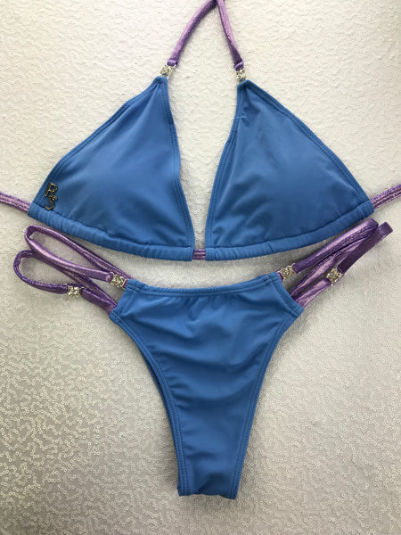 2018 Periwinkle Blue Purple Bikini (We size to measurements) Micro NO Cheeky