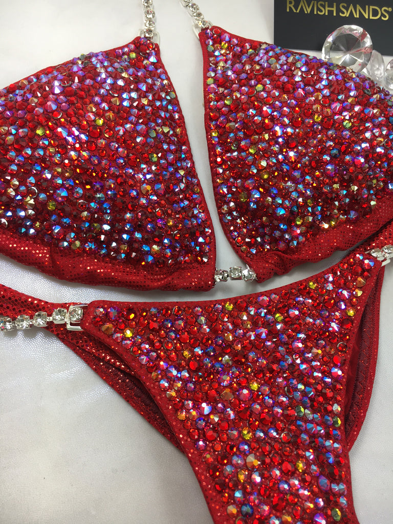Limited EDITION Custom Competition Bikinis Red Swarovski Ultimate Bubbles Deluxe (9 different crystals)