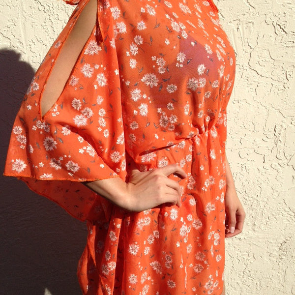 Quick Ship Shoulder Slit Orange Floral Cover Up