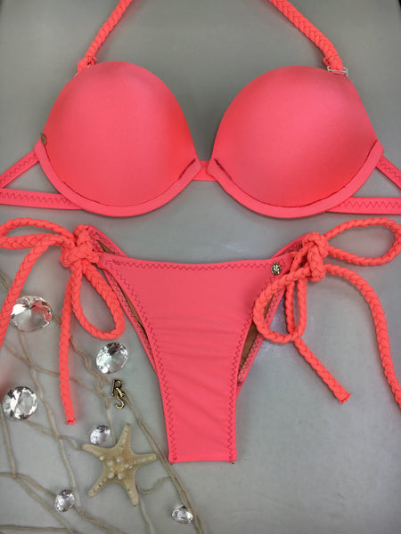 2019 Custom made Coral Underwire Bra top with Braid tie string bottoms (any color request welcome)***(SUIT SOLD PER PIECE OR SET, price varies)