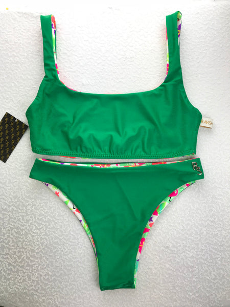 2018 Flamingo Garden Plunge neck 4:1 Flip It Reversible Highwaisted Bikini Brazilian(NO Scrunch Butt)Quickship