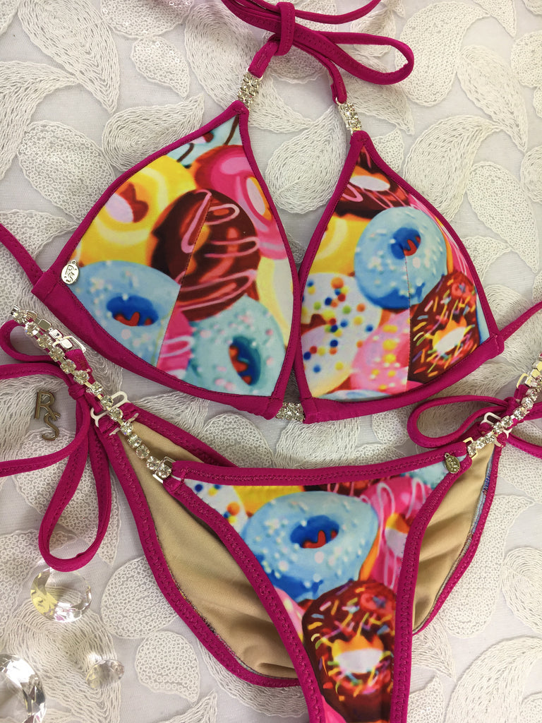 Custom Made to Order Donut Posing Bikini with Rhinestone connectors and adjustable tie sides (Donuts)Doughnut