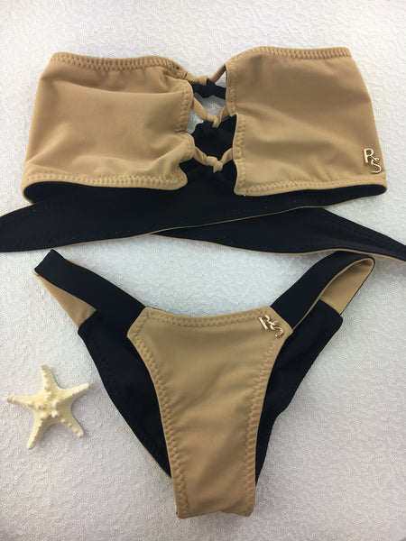 2018 Nude Black Color Block Crisscross 4:1 Flip It Reversible Bikini Midcoverage Cheeky