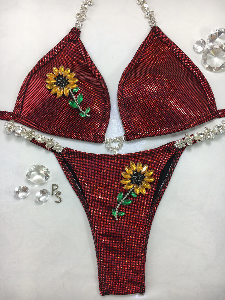 Custom Posing Exclusive Sunflower/Bees/Pineapple Or Star options bikini w/Embellishment $139.99 (choose any fabric color/choice of connectors)