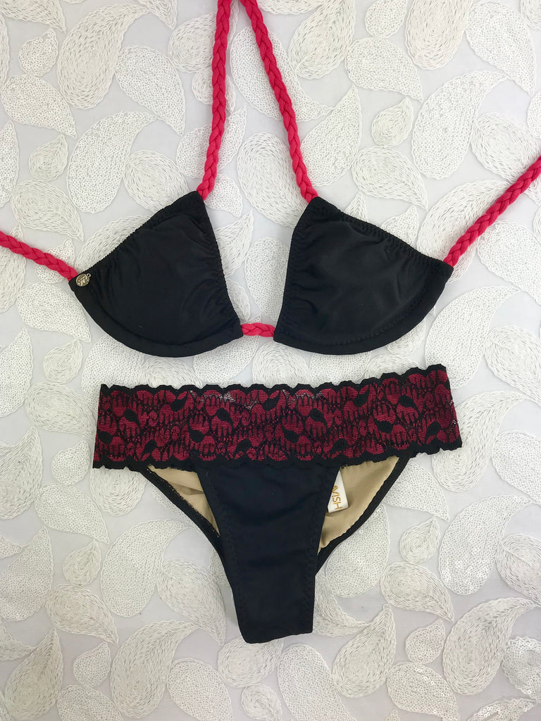 2018 Black Berry Lace Band Bikini Brazilian cheeky