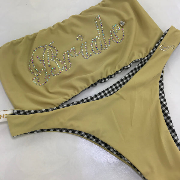 CUSTOM Bride RHINESTONE strapless bikini Wedding/Honeymoon***(SUIT SOLD PER PIECE OR SET, price varies) *can be ordered in any fabric color