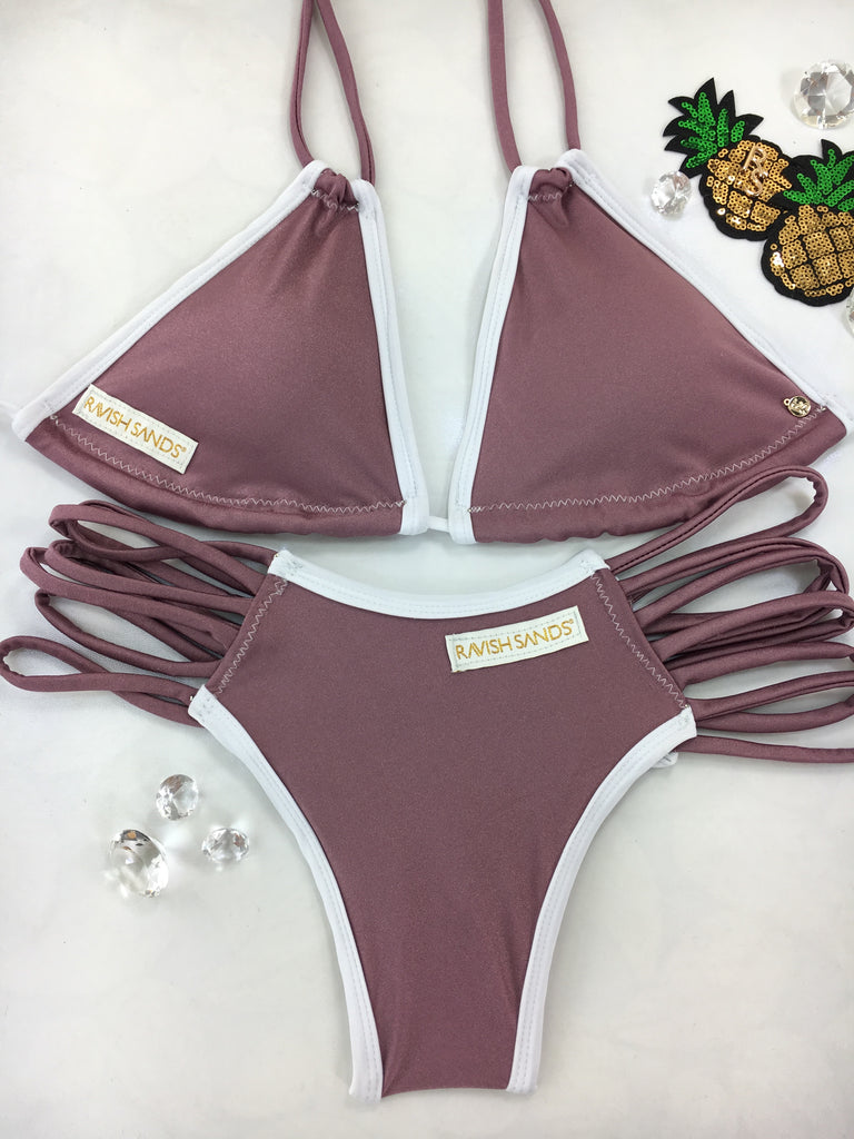 Custom Dusty Rose White Color block trim Multistring***ANY COLOR REQUEST WELCOME***(SUIT SOLD PER PIECE OR SET, price varies)
