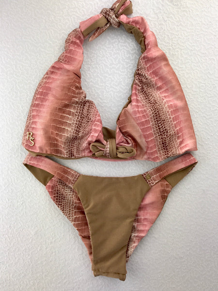 3e3ae2db93c06 2018 Pink Bronze Croc Band Seamless 4 1 Flip It Reversible Bikini Brazilian  Cheeky