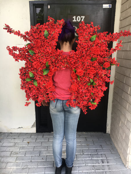 Theme wear Wings Floral wings Red