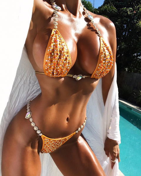 Custom Bling Bombshell Elite with color crystal upgrade (Abby) Competition Bikini