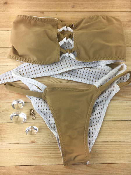 2018 White Mesh Tan Crisscross 4:1 Flip It Reversible Bikini Micro Cheeky Quickship