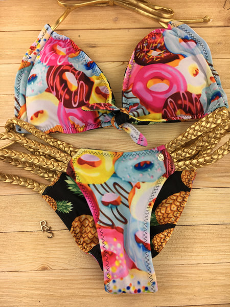 Custom Knot tie front Amber triple braid 2:1 Reversible bikini donut/doughnut***(SUIT SOLD PER PIECE OR SET, price varies)