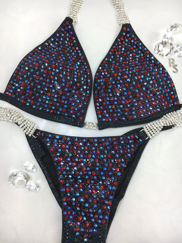 Custom Competition Bikinis Black Merlot, wine,  Luxe Crystals Molded cup upgrade included Swarovski