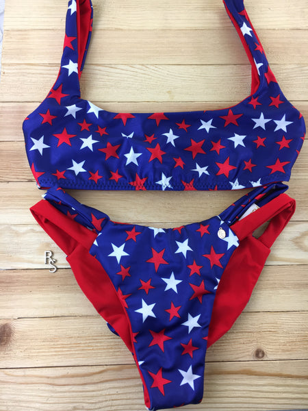 2018 Fourth of July Red White Blue Stars Seamless Plunge neck 4:1 Flip It Bikini Pageant Cheeky