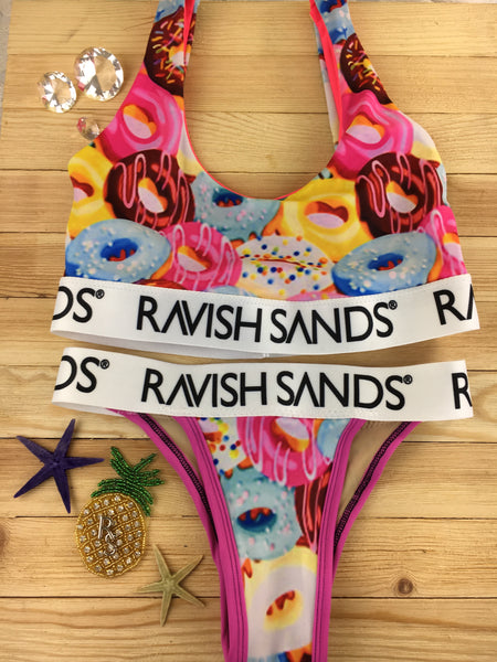 Custom Plunge Neck Bralette Ravish Sands Exclusive Logo Monogram band (Doughnut/Donut) ***(SUIT SOLD PER PIECE OR SET, price varies)