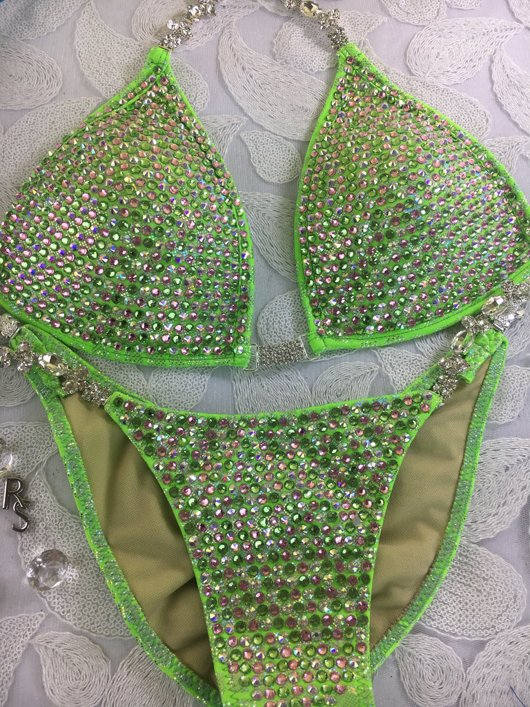 Quick View Competition Bikinis Neon Green Bombshell Bling Luxe