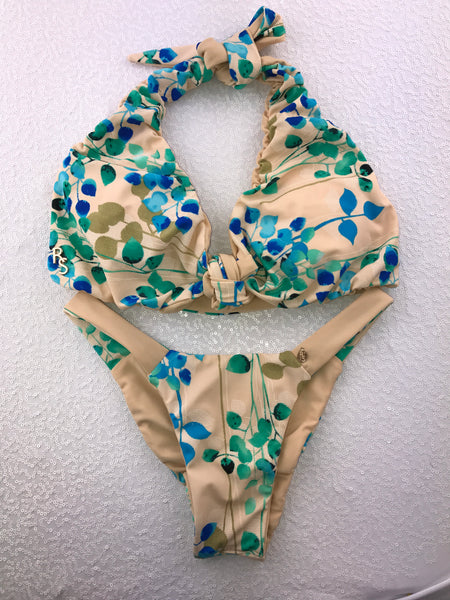 2018 Nude Blue/Green Floral Halter Tie Front Seamless 4:1 Flip It Reversible Bikini Brazilian Cheeky Quickship