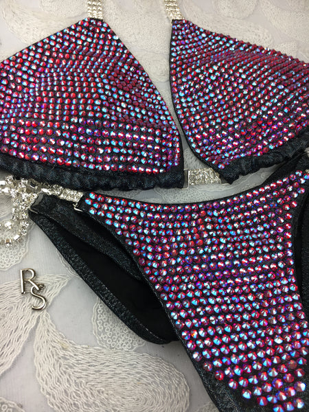 Quick View Competition Bikinis Pink/black Bombshell Bling Luxe Swarovski Crystals