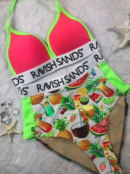 Custom Drea's Bliss Highwaisted RS Monogram (Any color combo welcome)Custom Molded cup Amber (double braid) Default photo shows style only and SUIT can be ordered in any of our swatch combos***(SUIT SOLD PER PIECE OR SET, price varies)