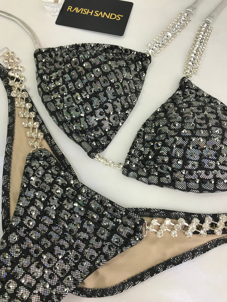RENTAL Black silver croc Bubbles Celebrity  small top/brazilian cheeky (we size bottom to your measurement)