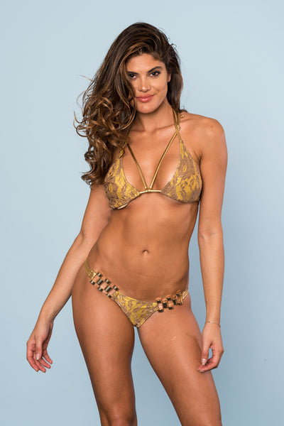 2017 Bronze/Gold Lace (Rose Gold Connector) Bikini Pageant Cheeky (we size bottoms to your measurements)