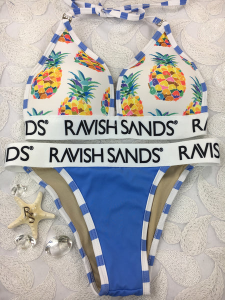 Custom Order Periwinkle Pineapple Ravish Sands Monogram Band***(SUIT SOLD PER PIECE OR SET, price varies)