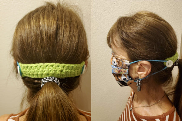 Crochet Face mask Pony tail support band (so you don't have to wear around the ears) Available in black, pink, green, grey, pastel (handmade in USA)