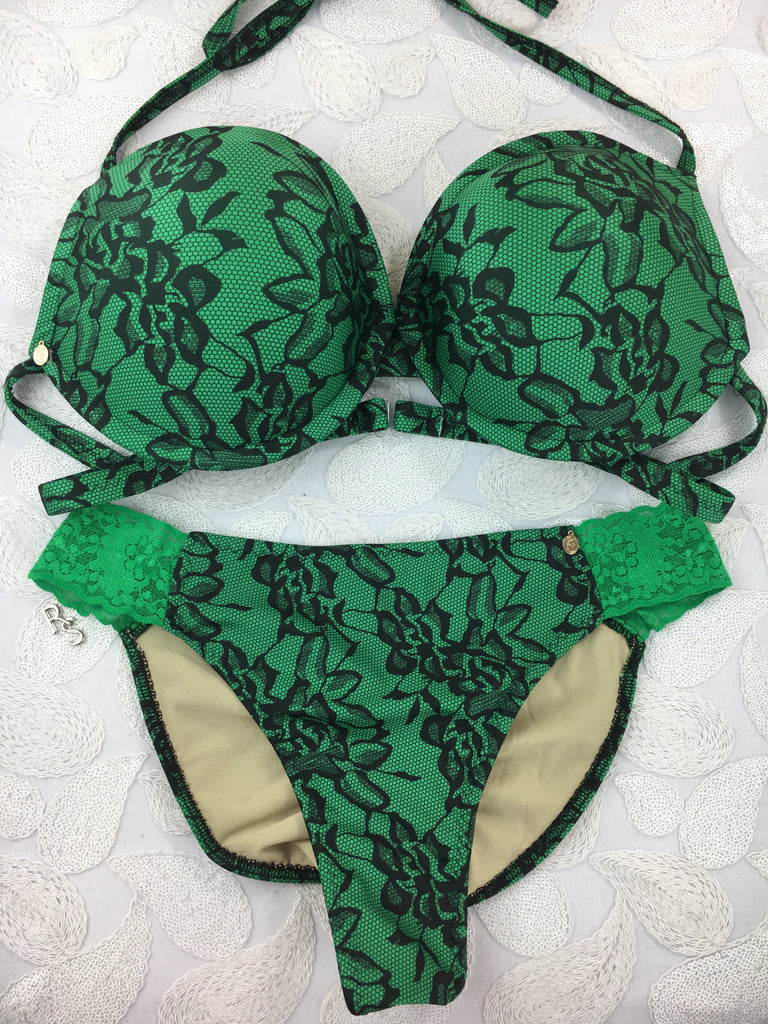 Custom Green Black Floral Underwire Push Up bra with Green lace (any fabric option welcome)***(SUIT SOLD PER PIECE OR SET, price varies)